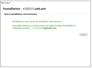 Manager OVH - Reinstallation fini