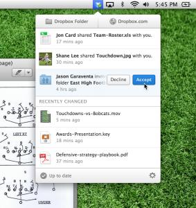 Menu Dropbox 2.0 Mac