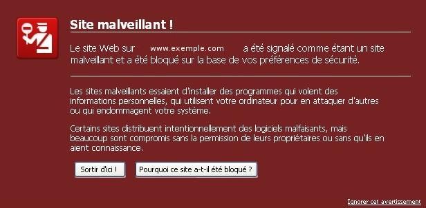 Alerte Site Malveillant Navigateur