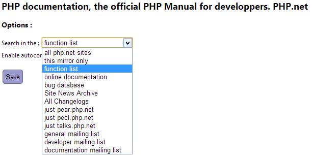 PHP Documentation - Options