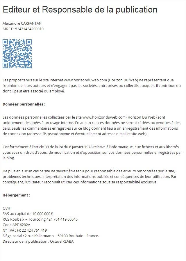 Mentions légales  Horizon Du Web