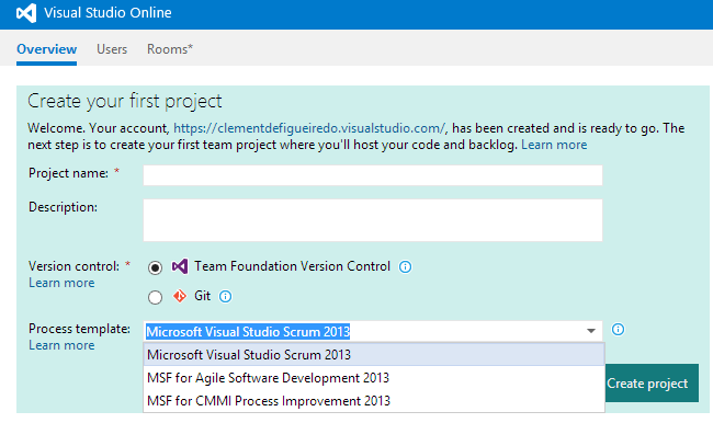 VisualStudioOnline - projectstart