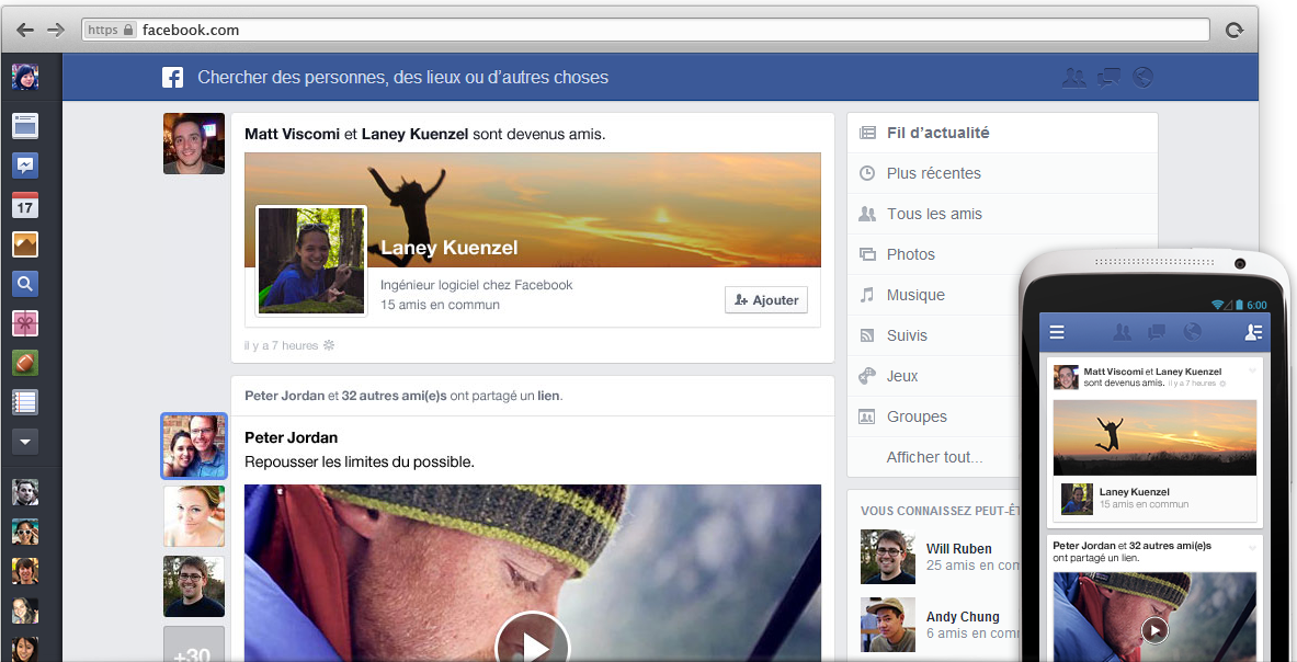 Nouveau design Fil actu Facebook
